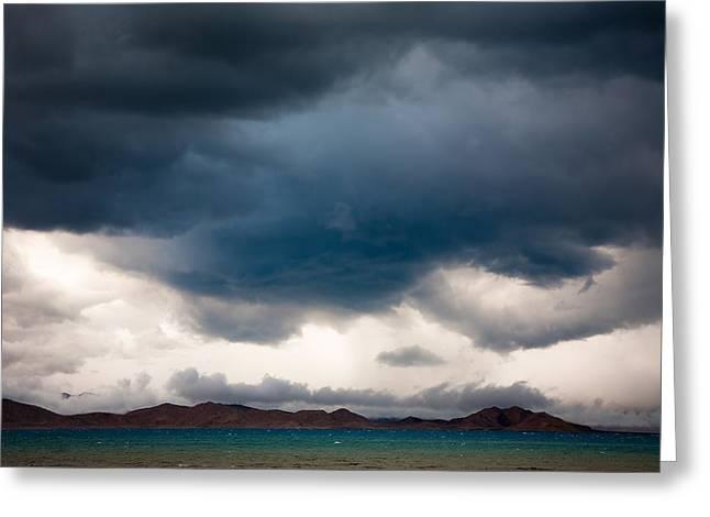 Sky Greeting Cards - Storm on Karakul lake Greeting Card by Konstantin Dikovsky