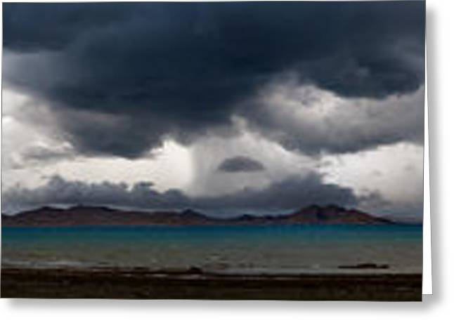 Storm On Karakul Lake. Panorama Greeting Card by Konstantin Dikovsky