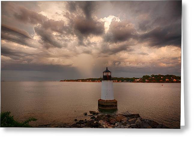 Sea View Greeting Cards - Storm over Fort Pickering Lighthouse Greeting Card by Jeff Folger