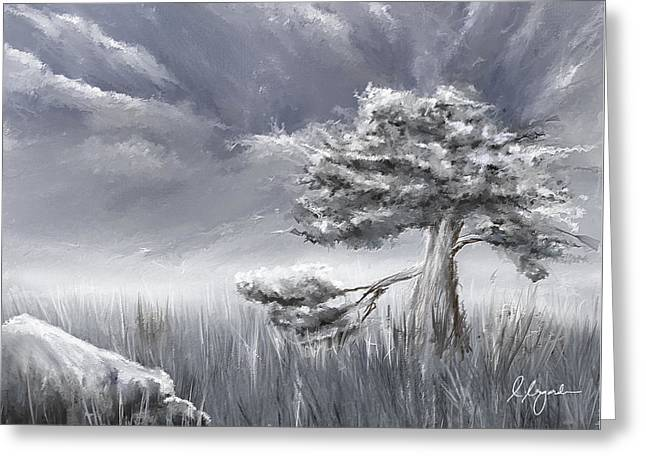 Storm Art Greeting Card featuring the painting Storm Over Hayfield- Navy And Gray Art- Hayfield Art by Lourry Legarde
