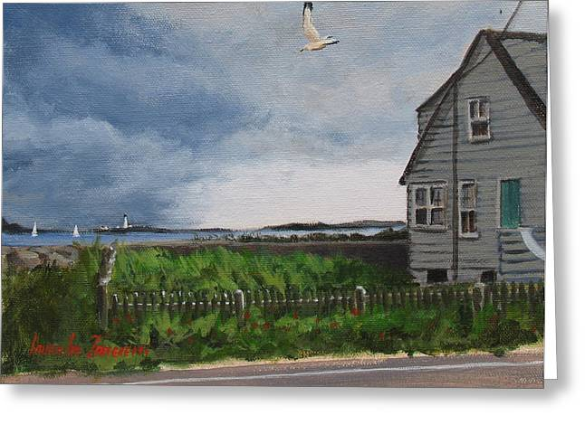 Boston Light Greeting Cards - Storm Over Hull Greeting Card by Laura Lee Zanghetti