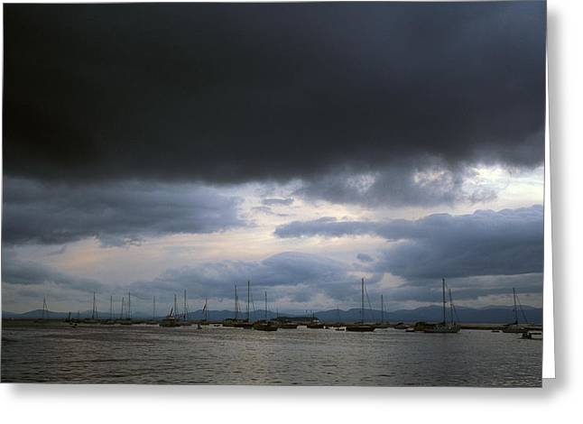 Champlain Greeting Cards - Storm over Lake Champlain Greeting Card by John Burk
