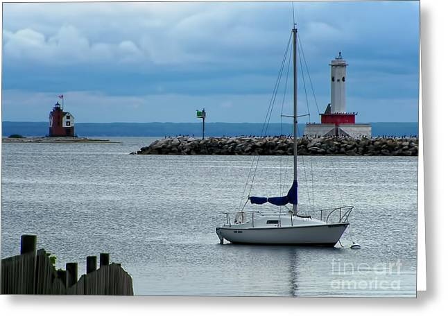Lake Michigan Greeting Cards - Storm Over Mackinac Greeting Card by Pamela Baker