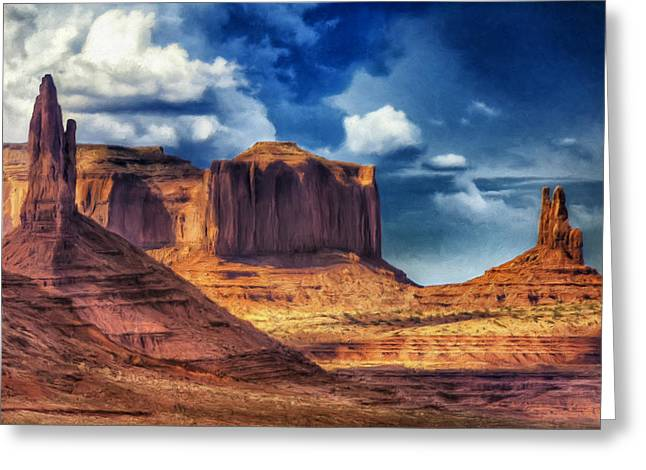 Summer Storm Paintings Greeting Cards - Storm Over Monument Valley Greeting Card by Dominic Piperata