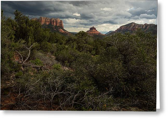 Storm Clouds Pyrography Greeting Cards - Storm over Red Rock Buttes Greeting Card by Rick Strobaugh