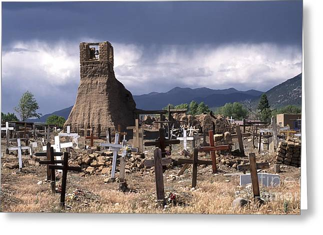 Taos Greeting Cards - Storm over Taos Graveyard Greeting Card by Sandra Bronstein