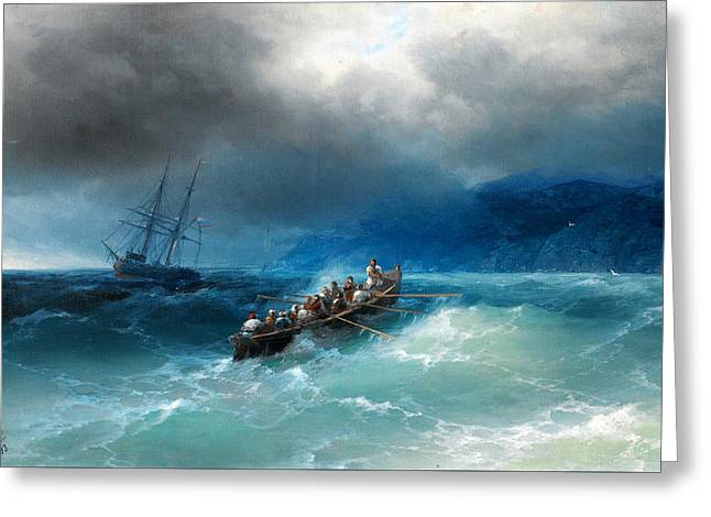 Storm Over The Black Sea Greeting Card by Ivan Aivazovsky