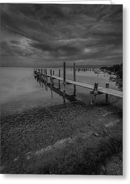 Docked Boat Pyrography Greeting Cards - Storm over the Boat Dock BW Greeting Card by Rick Strobaugh