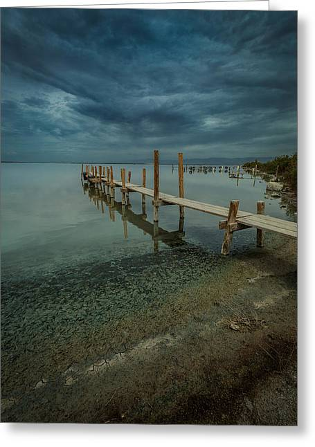 Storm Clouds Pyrography Greeting Cards - Storm over the Boat Dock Greeting Card by Rick Strobaugh