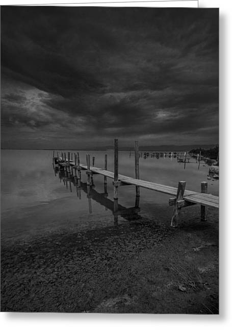 Docked Boat Pyrography Greeting Cards - Storm over the Dock BW Greeting Card by Rick Strobaugh