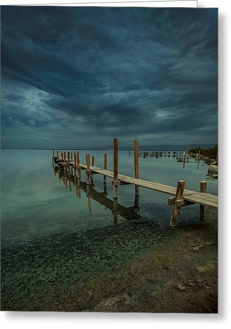 Storm Clouds Pyrography Greeting Cards - Storm over the Dock Greeting Card by Rick Strobaugh