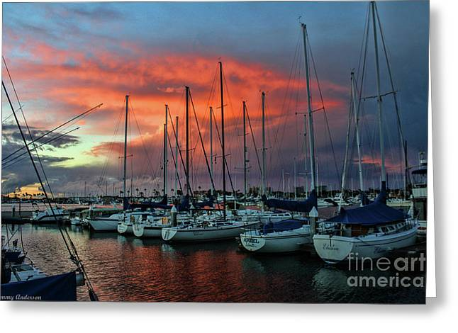 Raining Greeting Cards - Storm over the Newport Harbor Greeting Card by Tommy Anderson