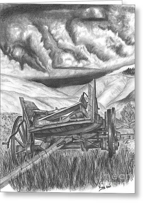 Wagon Wheels Drawings Greeting Cards - Storm over Wagon Greeting Card by Russ  Smith
