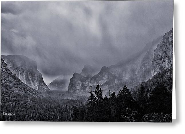 Black Veil Greeting Cards - Storm Over Yosemite Greeting Card by Bill Roberts