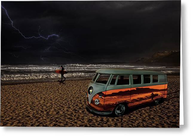 Surf Silhouette Greeting Cards - Storm Surf Greeting Card by Markus P
