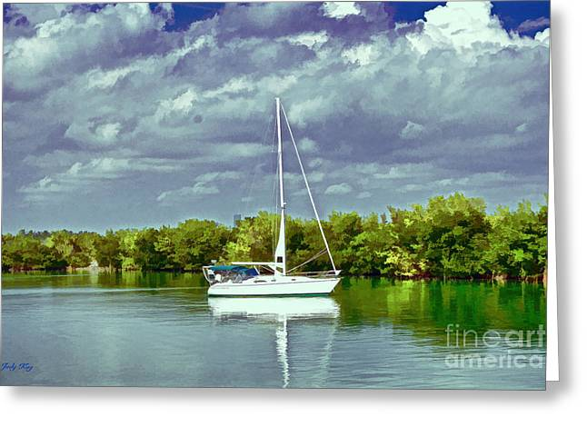 Sailboat Art Greeting Cards - Storm Threat Greeting Card by Judy Kay