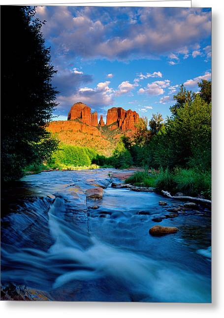 Red Rock Crossing Greeting Cards - Stormlight on Red Rock Crossing Greeting Card by Kerrick James