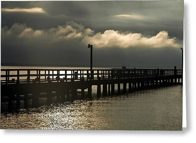 Town Pier Greeting Cards - Storms Brewin Greeting Card by Clayton Bruster