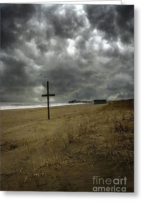Pensive Greeting Cards - Storms Brewing Greeting Card by Debra Fedchin