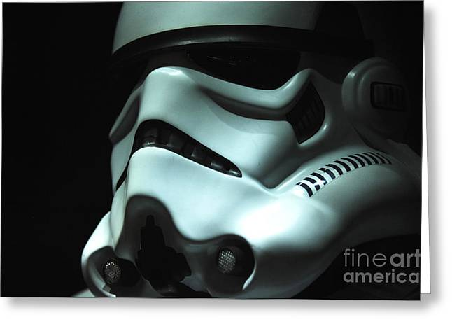 Uniformed Greeting Cards - Stormtrooper Helmet Greeting Card by Micah May