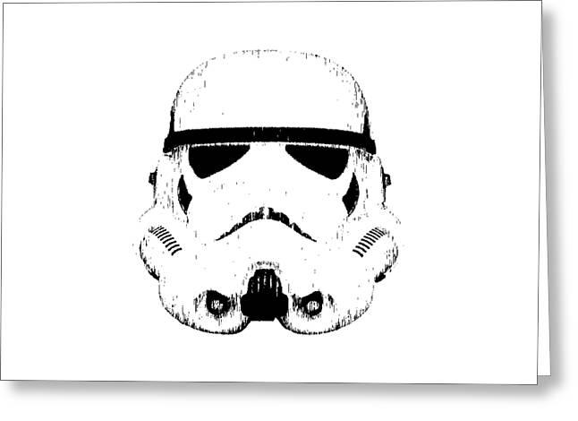 Bootleg Greeting Cards - Stormtrooper Helmet Star Wars Tee Black Ink Greeting Card by Edward Fielding