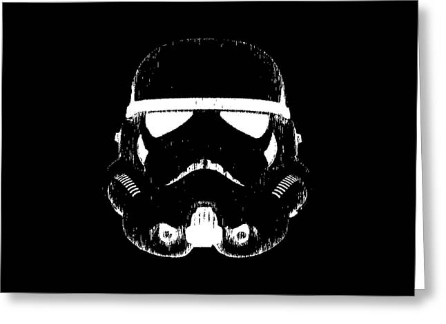 Ink Drawing Greeting Cards - Stormtrooper Helmet Star Wars Tee Greeting Card by Edward Fielding