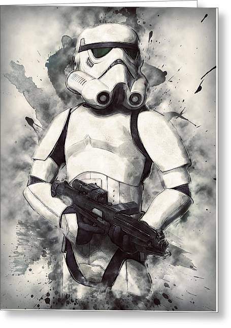 Portrait Poster Digital Art Greeting Cards - Stormtrooper Greeting Card by Taylan Soyturk