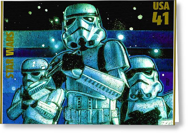 Postal Paintings Greeting Cards - Stormtroopers Greeting Card by Lanjee Chee