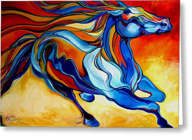 Marcia Greeting Cards - STORMY an EQUINE ABSTRACT SOUTHWEST Greeting Card by Marcia Baldwin