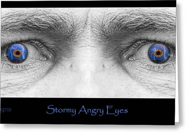 Lightning Gifts Greeting Cards - Stormy Angry Eyes Poster Print Greeting Card by James BO  Insogna