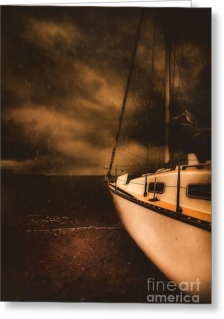 Stormy Artistic Portrait Of A Yacht Greeting Card by Jorgo Photography - Wall Art Gallery