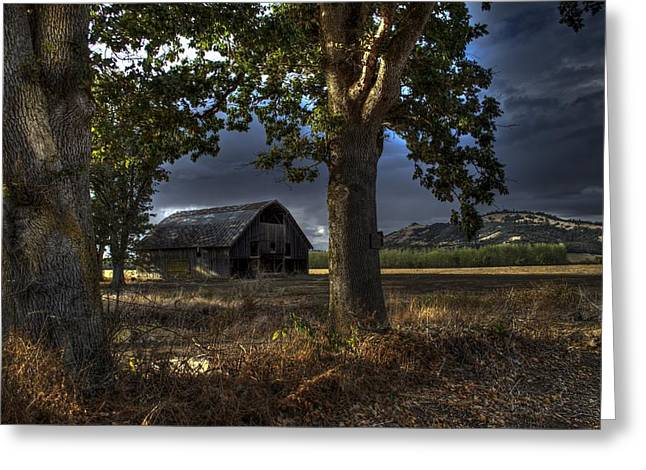 Old Barn Drawing Greeting Cards - Stormy Barn Greeting Card by JM Photography    Jim Mullholand