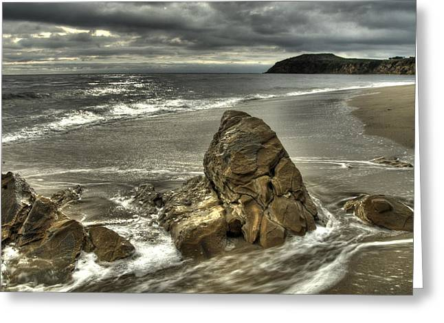 Beach Storm Greeting Cards - Stormy Beach Greeting Card by Marc Bittan