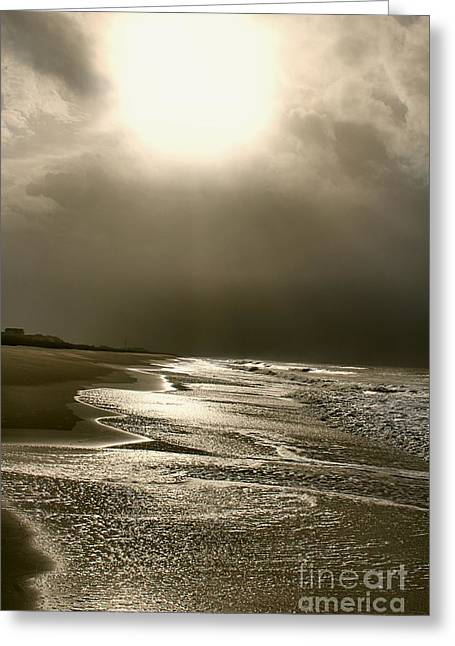 Fish Digital Greeting Cards - Stormy Beach Sun Reflection Greeting Card by Cindy Piper