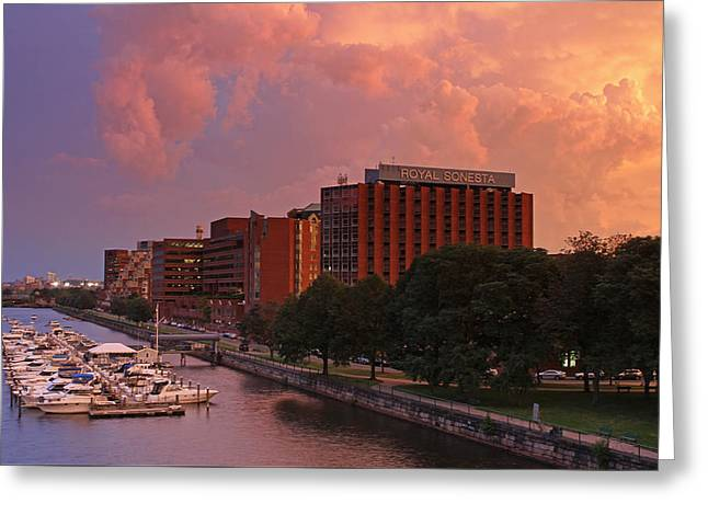 Charles River Greeting Cards - Stormy Boston Greeting Card by Juergen Roth