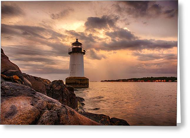 Ocean View Greeting Cards - Stormy clouds of Salem Lighthouse Greeting Card by Jeff Folger