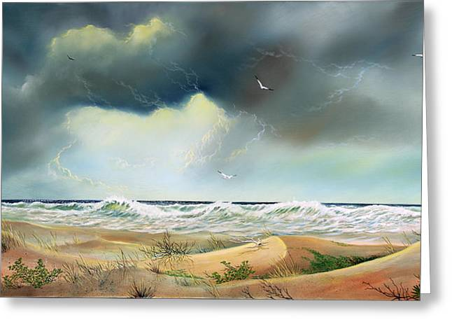 Nature Scene Paintings Greeting Cards - Stormy Coast Greeting Card by Don Griffiths