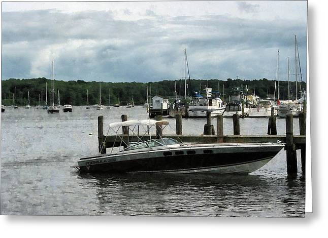 Sailboat Greeting Cards - Stormy Day at the Harbor Essex CT Greeting Card by Susan Savad