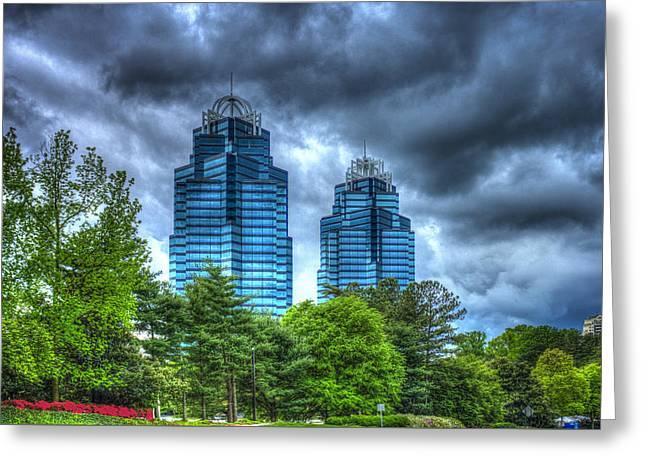 Stormy Day Blues Concourse Buildings Atlanta Greeting Card by Reid Callaway
