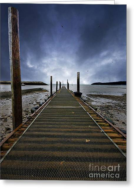 Sea Platform Greeting Cards - Stormy Jetty Greeting Card by Meirion Matthias