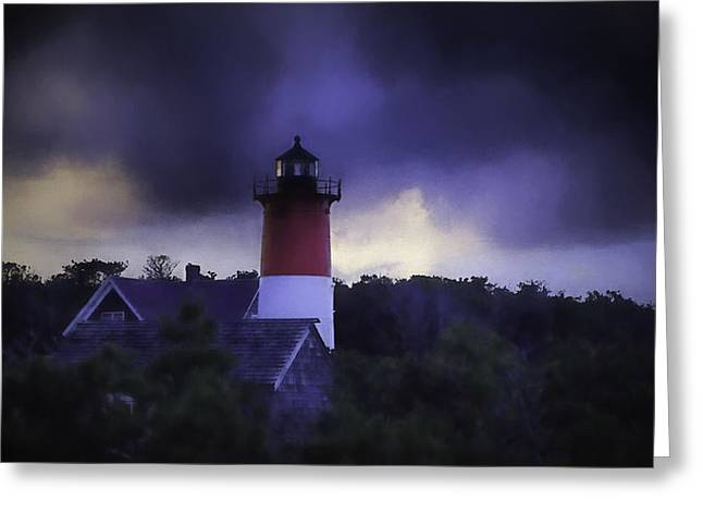 Storm Clouds Cape Cod Greeting Cards - Stormy Nauset Light  Greeting Card by Kate Hannon