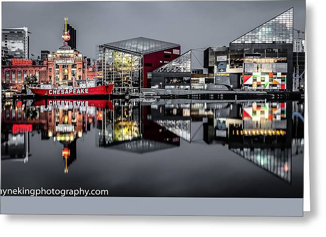 Grey Clouds Greeting Cards - Stormy Night in Baltimore Greeting Card by Wayne King