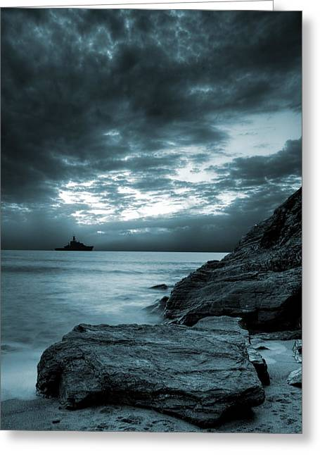 Glow Greeting Cards - Stormy Ocean Greeting Card by Jaroslaw Grudzinski