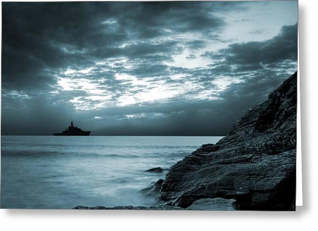 Stormy Ocean Greeting Card by Jaroslaw Grudzinski