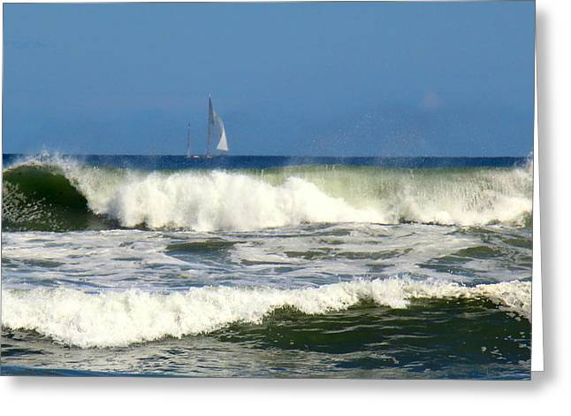 Sun Breaking Through Clouds Greeting Cards - Stormy Ocean Greeting Card by Ursula Coccomo