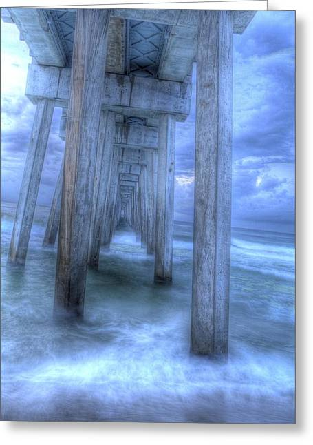 Stormy Pier 1 Greeting Card by Larry Underwood