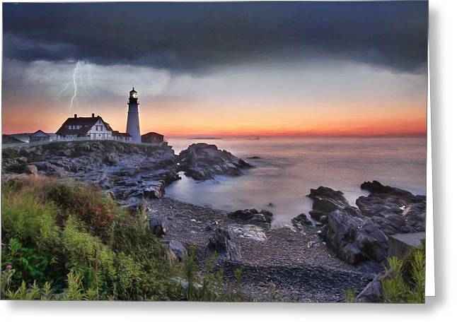 Coastal Maine Greeting Cards - Stormy Portland Greeting Card by Lori Deiter
