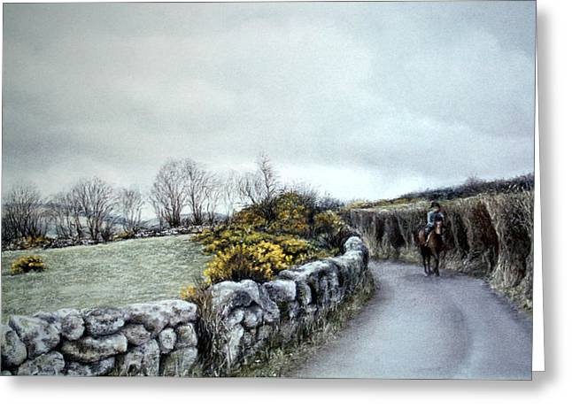 Mood Pastels Greeting Cards - Stormy Ride on The Moor Greeting Card by Rosemary Colyer
