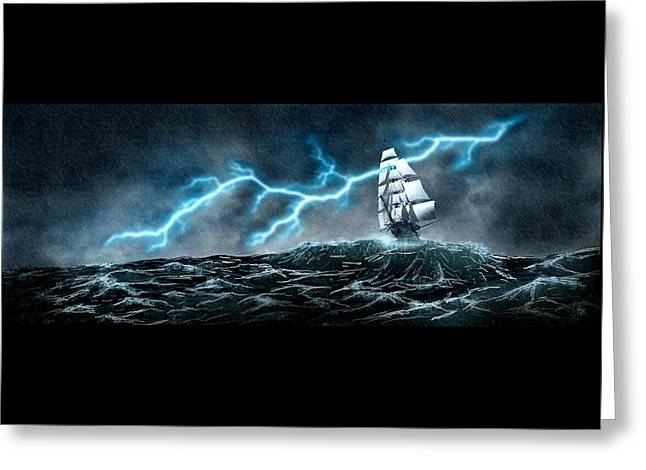 Pirate Ships Greeting Cards - Stormy Seas Greeting Card by Bryce Juliak