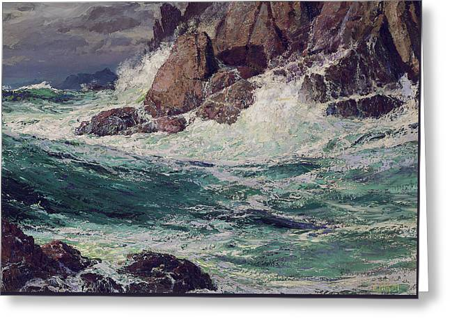 Nature Scene Paintings Greeting Cards - Stormy Seas Greeting Card by Edward Henry Potthast